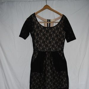 Urban Outfitter 3/4 Sleeve Black Lace Dress